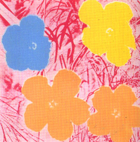 andy warhol flowers 1970 fs 70 blue yellow orange flowers with pink background